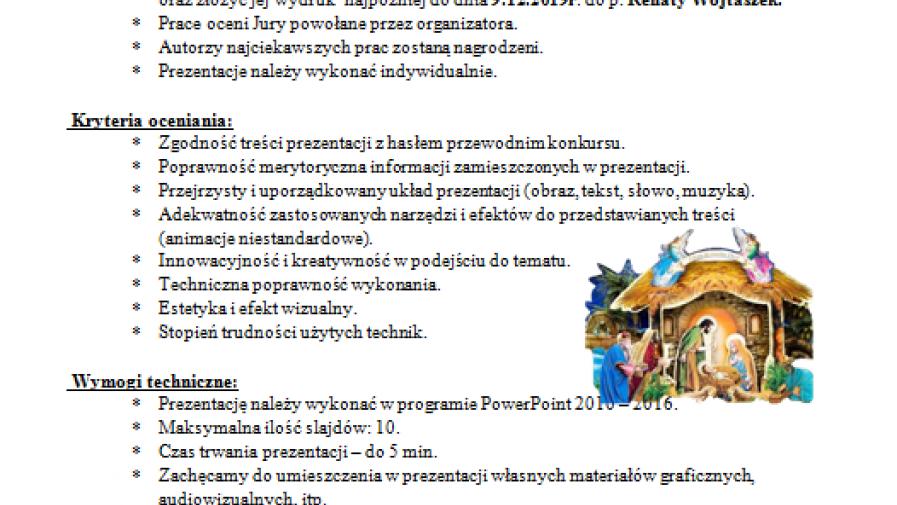 """Szkolny Konkurs na prezentację multimedialną:  Polskie  tradycje i symbole """"Bożego Narodzenia"""""""